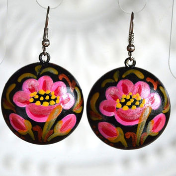 earrings of wood with hand painted handmade wooden Dangling Earrings Gift idea for her Black Pink Green painting earrings Pink flowers