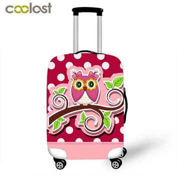 Fun 3D Animal Owl Travel Suitcase Protective Covers 18-28 Inch Pink Travel Accessories for Girls Dust-proof Cute Luggage Covers
