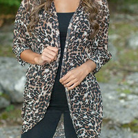 Collarless Long Sleeve Leopard Print Chiffon Cardigan