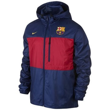 Barcelona FC Nike Winger Authentic Full Zip Jacket - Navy Blue - http://www.shareasale.com/m-pr.cfm?merchantID=7124&userID=1042934&productID=548693956 / Barcelona FC