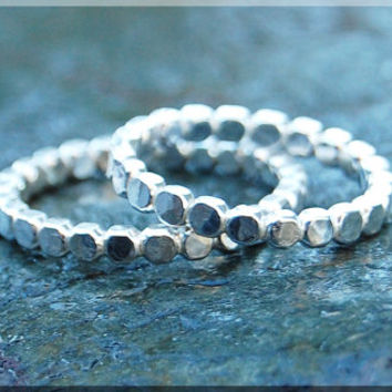 His and Her Sterling Silver Ring Set, Full Bead Sterling Ring set, Beaded Silver Ring, His and Her hammered ring set, Wedding Ring Set
