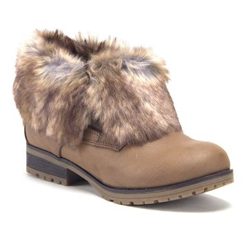 Women's Wynne-08 Ankle Bootie Fold Down Fur Combat Winter Chukka Boots
