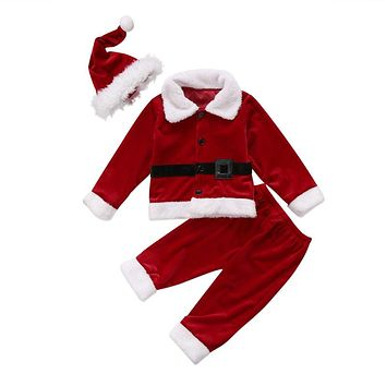 Christmas Baby Girl Boy Clothes Set Winter Fall Newborn Boys Girls Velvet Tops Pants Outfits  New Baby Clothes Set