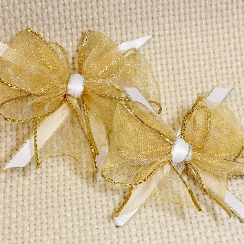 Yellow Gold Dog Bows. Light Gold Organza Puppy Bows. Sparkly Gold Edges with White and Gold Satin Ribbon. Small Dog Accessories with Elastic