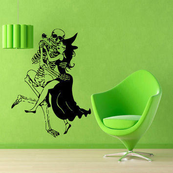 Halloween Wall Decals Woman Witch With Broom Dance With Skeleton Vinyl Sticker Interior Design Living Room Art Kids Nursery Room Decor KG209