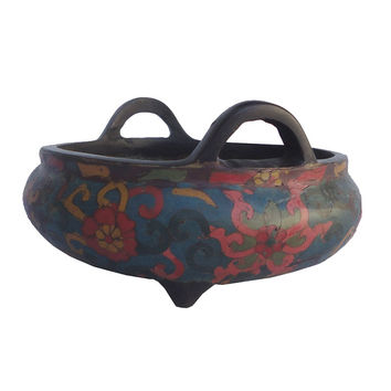 Chinese Antique Cloisonné Brass Lotus Flower Hand Paint Incense Burner wk2683S
