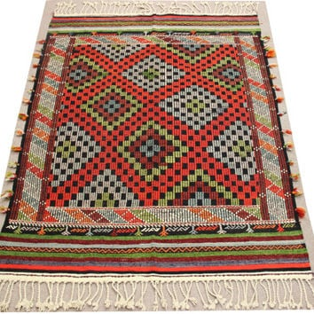 Handwoven Turkish Decorative Kilim Rug Antique rug chevron cicim rug oriental large size kilim rug natural dye wool striped kilim Y-277
