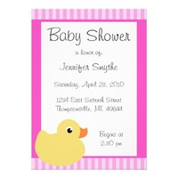 Sweet Ducky Pink Baby Shower Invitations