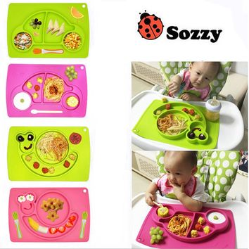 1pcs Sozzy Cute Silicone one-piece dinner mat/plate divided