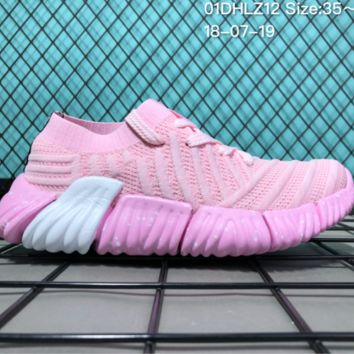 AUGUAU A050 Adidas Superstar II 2018 Summer Low Breathable Knit Running Shoes Pink