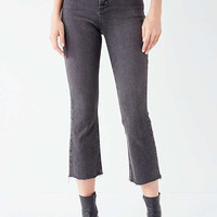 BDG Kick Flare High-Rise Cropped Jean - Black   Urban Outfitters