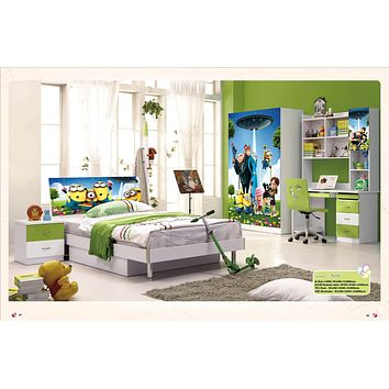 5 Pcs Loft Bed Set Kids Table And Chair Wood Kindergarten Furniture - Minnon Theme