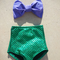The little mermaid Bow Bandeau top High Waisted Swimsuit bikini set