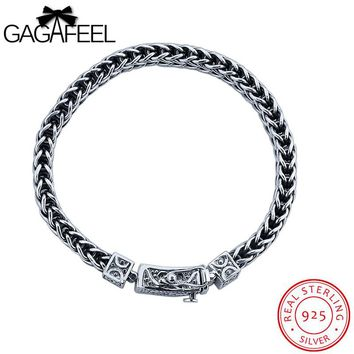 Male Bracelet 925 Sterling Silver Bangles Thai Silver Rope Chain 18-21CM