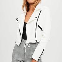 Missguided - White Cropped Faux Suede Jacket