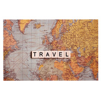 "Sylvia Cook ""Travel Map"" World Decorative Door Mat"