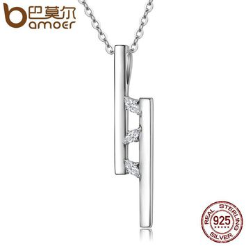 925 Sterling Silver Double T Bar Geocentric Dazzling CZ Pendant Necklaces Women Sterling Silver Jewelry Collares SCN127