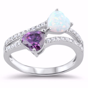 Sterling Silver CZ Lab White Opal Simulated Amethyst Two Hearts Ring