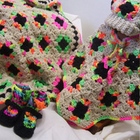 Crocheted  Baby Bundled Sets Ready to Ship or Special Orders Matching Hat Poncho Shoes Booties Blanket