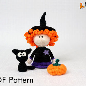 Halloween pattern, crochet pattern, DIY, amigurumi pattern, witch pattern, cat pattern, PDF pattern, crochet toy pattern