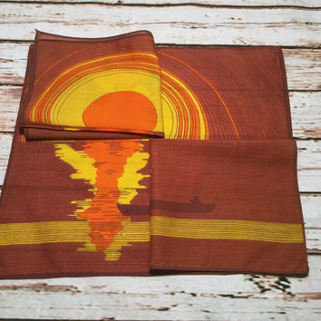 Vintage Ladies Hankie . Sunset Print Handkerchief . Set of Three Novelty Hankies  .