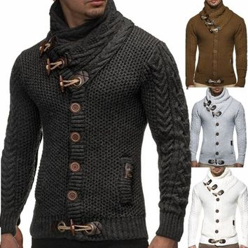 Knitted Outerwear Men Cardigans All-Match Sweater Jackets