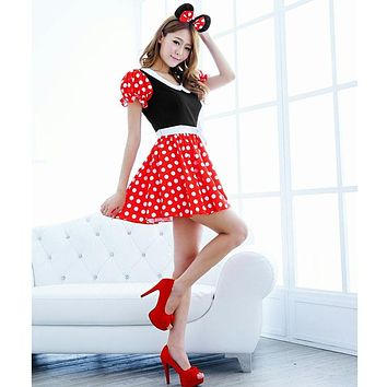 Mini Mouse Cosplay Costume with Ears