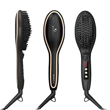 Professional Electric Straightener Brush By Magnifeko- Ceramic Hair straightening Comb With Bonus kit Traveling Bag and Heat Resistant Glove