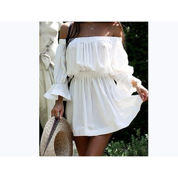 New Ladies loose dress summer sexy slash neck dress women White