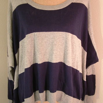 BCBGeneration sweater oversized dolman sleeve slouch navy blue gray sz M/L