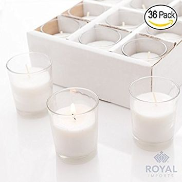 Set of 36 Votive Candles Clear Glass Wax Filled Unscented, Ideal for Restaurant, Wedding, Party, Spa, Holiday & Home Decor - 15 Hour Burn Time - by Royal Imports
