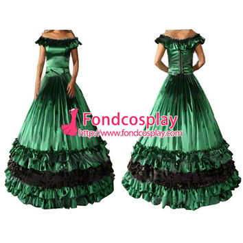 ping Gothic Lolita Punk Medieval Gown Green Ball Long Dress Evening Dress Tailor-made Alternative Measures - Brides & Bridesmaids - Wedding, Bridal, Prom, Formal Gown