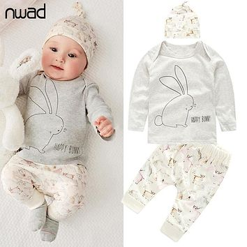 NWAD Newborn Baby Girl Clothes Baby Boys Clothing Sets 2017 Autumn Bunny New Born Long Sleeve T Shirt+Pants+Hat 3pcs Set FF014