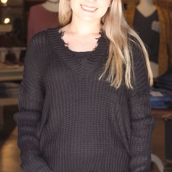 {Black} Cropped + Frayed V-neck Sweater