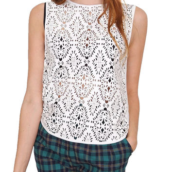 Nostalgia Sleeveless Top - White Lace