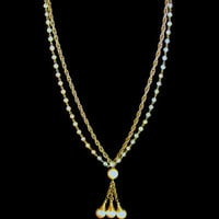 Vintage Multi Strand Long Necklace With Tassel In Gold Tone Chain And Faux Pearls And Beads