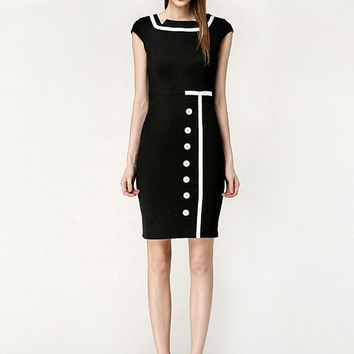 Black Square Neckline Cap Sleeve with Button Accent Mini Dress