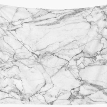 'White & Gray Marble Stone' Wall Tapestry by artonwear