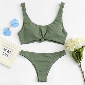 Bikini Set beach body Romwe Sport Knot  2018 New Arrivals Summer Green Knot Tied Swimsuit with Chest pad Plain Beach Hot Sexy Swimwear