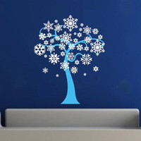 Snow Flakes Winter Tree Removeable Vinyl Wall Decal 22243