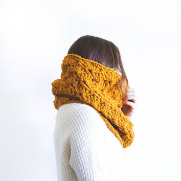 Crochet Cowl Neck Warmer Chunky Lace Snood Scarf | THE MELCOSTA | Butterscotch