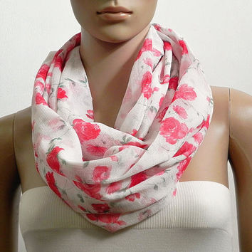 Floral Infinity Scarf Shawl White Red Chunky Fashion Scarves for Women Cowl Scarf Long Tube Scarf Loop Summer Scarf Gift for her Handmade