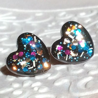 Small sparkly hearts black and rainbow glitter stud earrings titanium post valentine's day gift for her