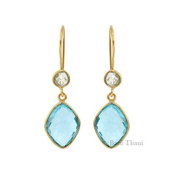 Aqua Quartz and Crystal Gold Plated Sterling Silver Earring - #3700