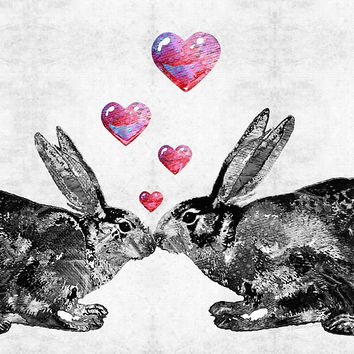 'Bunny Rabbit Art - Hopped Up On Love 2 - By Sharon Cummings' by Sharon Cummings