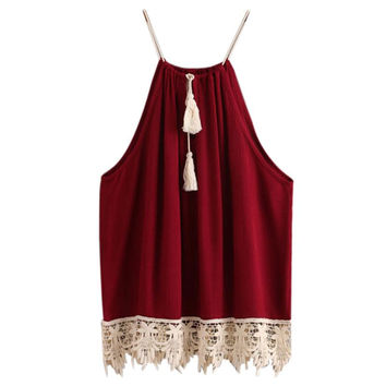Red Sexy Women Crop Top Trimmed Tasselled Drawstring Bralette Summer Floral Lace Tank Top Women Cropped Halter Top Haut Femme