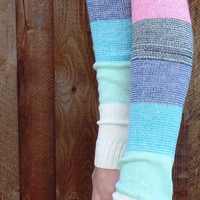 Multi Colored Knit Legwarmers, Womens Knitted Legwarmers, Womens Boot Socks, Ivory Boot Toppers, Pink legwarmers, Gray Boot Socks, Boot Cuff