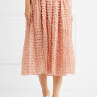 Chloé - Ruffled lace-trimmed silk-organza midi skirt