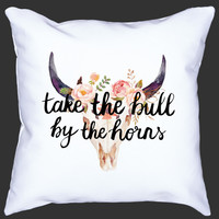 Take The Bull By The Horns Pillow