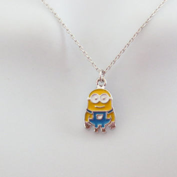 Minions, Silver, Chain, Necklace, Super, Cute, Necklace, Dainty, Jewelry, Character, Necklace, Minimal, Friendship, Best friend, Gift